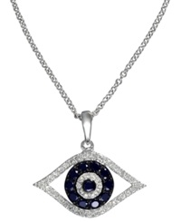 Effy Collection Gemma By Effy Sapphire 1 4 Ct. T.W. And Black And White Diamond 1 8 Ct. T.W. Evil Eye Pendant In 14K White Gold Blue