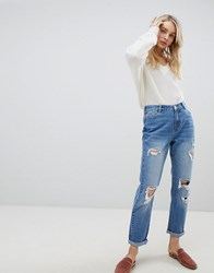 Urban Bliss Distressed Mom Jeans In Light Wash Light Wash Blue