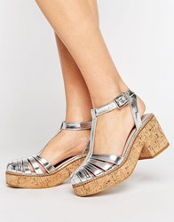 Asos Oasis Cork Platform Shoes Silver
