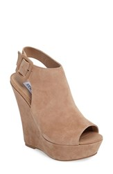 Steve Madden Women's Elvy Wedge Sandal Taupe Suede