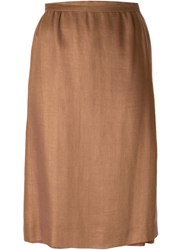 Celine Vintage Knee Length Skirt Nude And Neutrals