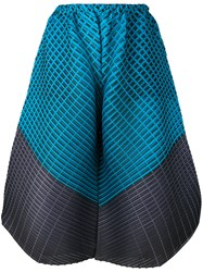 Issey Miyake Pleats Please By Colour Block Wide Leg Trousers Women Polyester I Blue