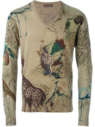 Etro Printed V Neck Sweater Brown