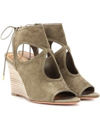 Aquazzura Sexy Thing Wedge 85 Suede Sandals Green