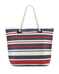 San Diego Hat Company Woven Striped Straw Tote Bag With Rope Handles Blue