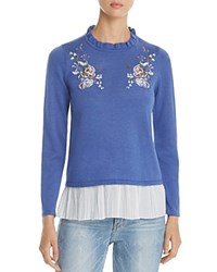 Design History Floral Embroidered Ruffle Sweater Blue Jean Heather