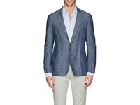 Barneys New York Cotton Linen Chambray Three Button Sportcoat Blue