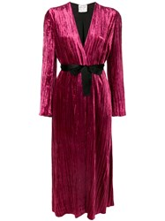 Forte Forte Belted Robe Coat Pink And Purple