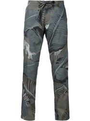Palm Angels Leaf Print Trousers Green