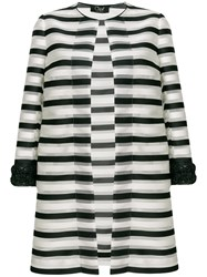 Clips Striped Fitted Coat White