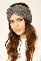 Forever 21 Marled Beaded Headwrap Grey Multi