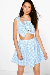 Boohoo Scuba Gingham Box Pleat Skater Skirt Blue