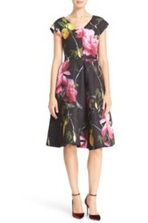 Ted Baker 'Nimah Citrus Bloom' Print V Neck Fit And Flare Dress Black