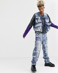 Jaded London Co Ord Utility Jeans In Blue With Paint Splats