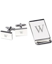 Bey Berk Monogrammed Silver Plated Rectangular Design Cufflinks And Money Clip Gift Set W