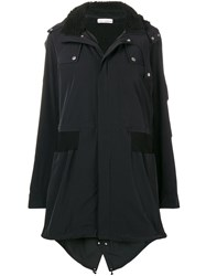 Paco Rabanne Hooded Parka Coat Black