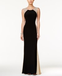 Xscape Evenings Rhinestone Illusion Gown Black