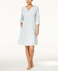 Miss Elaine Roll Tab Sleeve Printed Knit Nightgown Turqoise Grey Floral