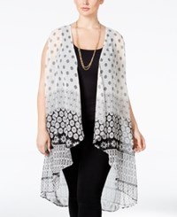 Stoosh Plus Size Sleeveless Printed Kimono Cardigan Black White