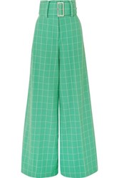 Sara Battaglia Belted Checked Crepe Wide Leg Pants Green