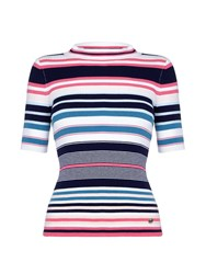Yumi Stripe Knit High Neck Top Multi Coloured Multi Coloured