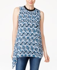 Rachel Rachel Roy Sleeveless Asymmetrical Hem Top Pacific Rattlesnake