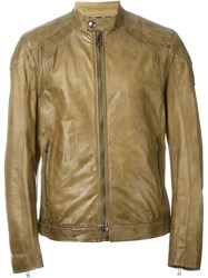 Belstaff Leather Zip Jacket Brown