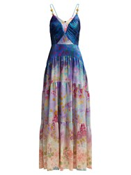 Peter Pilotto Floral Print Silk Blend Gown Blue Multi