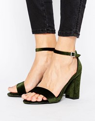 New Look Velvet Barely There Heeled Sandal Khaki Green