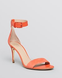 Tory Burch Open Toe Ankle Strap Sandals Classic Suede High Heel Poppy Coral
