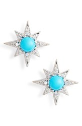 Anzie Mini Aztec Starburst Stud Earrings Turquoise