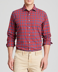 Gant Rugger Winter Madras H Spread Button Down Shirt Slim Fit Red Plaid
