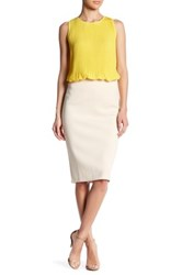 Catherine Malandrino Exposed Zipper Slim Skirt Beige