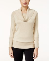 Thalia Sodi Zipper Embellished Cowl Neck Sweater Only At Macy's Gold