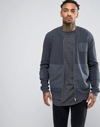 Asos Jersey Bomber Jacket With Woven Patches Gray