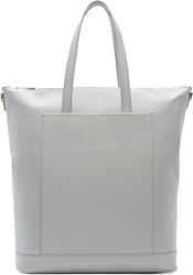 Pb 0110 Light Grey Leather Large Tote