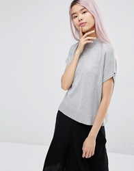 Monki High Neck Knitted T Shirt Grey Melange