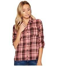 Hurley Wilson Long Sleeve Button Up Red Stardust Women's Long Sleeve Button Up Pink