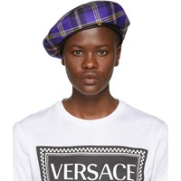 Versace Purple Plaid Beret
