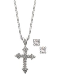 City By City Silver Tone Cross Pendant Necklace And Round Crystal Stud Earrings Set
