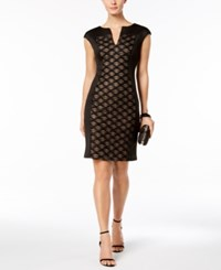 Connected Glitter Illusion Sheath Dress Black Nude