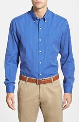 Men's Cutter And Buck 'Epic Easy Care' Classic Fit Vertical Pinstripe Wrinkle Resistant Sport Shirt French Blue White