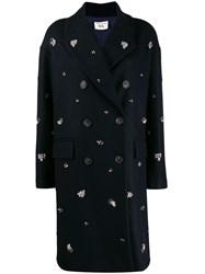Semicouture Embellished Double Breasted Coat Blue