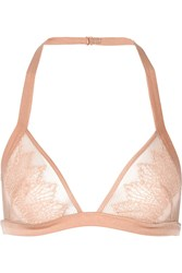 Kiki De Montparnasse Esprit Tulle Stretch Lace And Satin Soft Cup Bra Pink