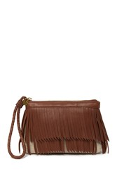 Hobo Breeze Fringe Clutch Natural W Brandy