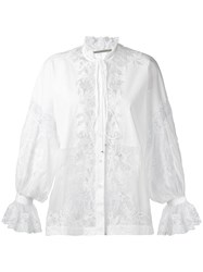 Ermanno Scervino Lace Panel Blouse Women Cotton Polyamide Polyester Viscose 38 White