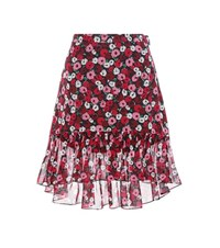 Saint Laurent Floral Printed Silk Skirt Pink