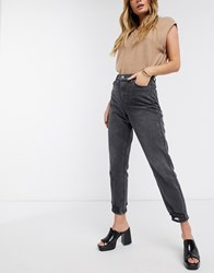 Topshop Ripped Hem Mom Jeans In Washed Black Blue