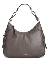 Calvin Klein Classic Pebbled Leather Hobo Steel
