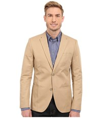 Perry Ellis Solid Slub Linen Cotton Suit Jacket Pale Khaki Men's Jacket Brown